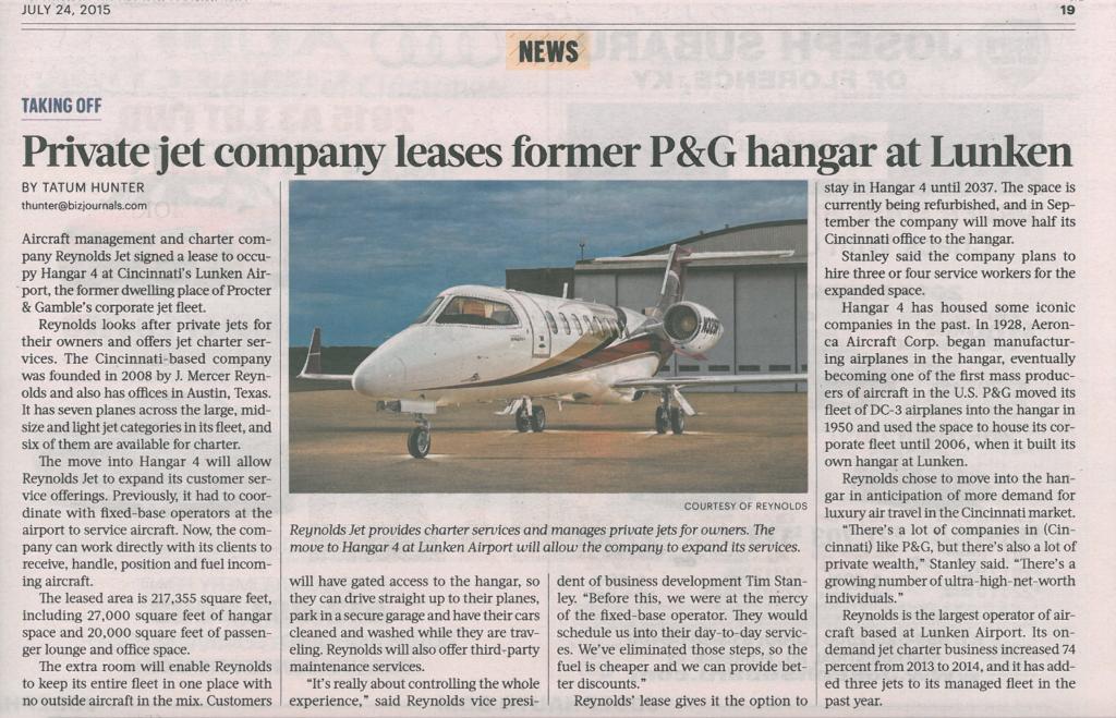 Cincinnati Business Courier Reynolds Jet Hangar 4 article